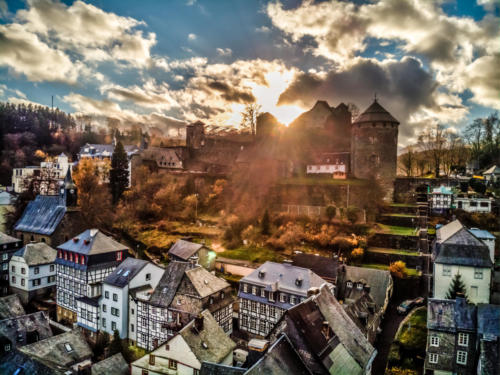 P0143 - Monschau Old Town Arial 3 - Sunset Now (Heaven 17)